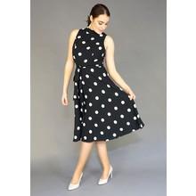 SL Fashions Black & White Polka Dot Dress