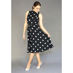 SL Fashions Black & White Polka Dot Dress