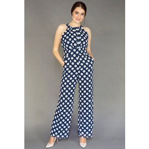 Ronni Nicole Navy & White Sleeveless Polka Dot Jumpsuit