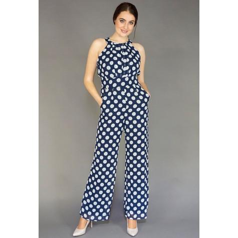 0154cdd7181 Ronni Nicole Navy   White Sleeveless Polka Dot Jumpsuit