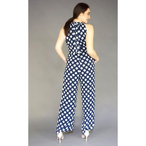 Ronni Nicole Navy & White Sleeveless Polka Dot Jumpsuit