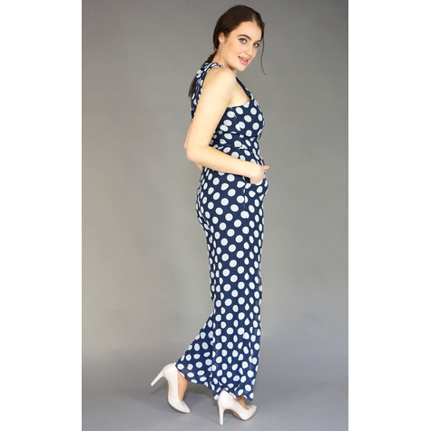 891a3ad1d5 Ronni Nicole Navy   White Sleeveless Polka Dot Jumpsuit