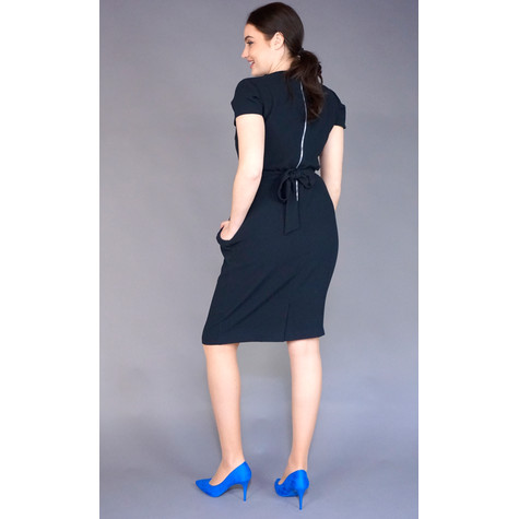 Zapara Navy V-Neck Belt Dress
