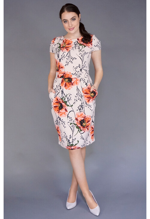 Zapara Pink Floral Belt Detail Dress