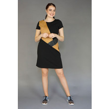 IOS Camel Suede Patch Black Dress