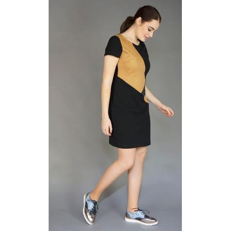 IOS Camel Suede Patch Black Dress