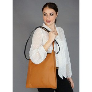 Bestini Camel Cross Body Shopper Bag
