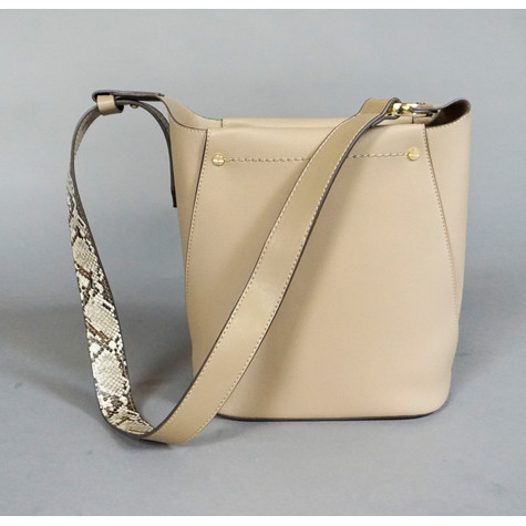 Bestini Taupe Cross Body Snake Print Detail Bag