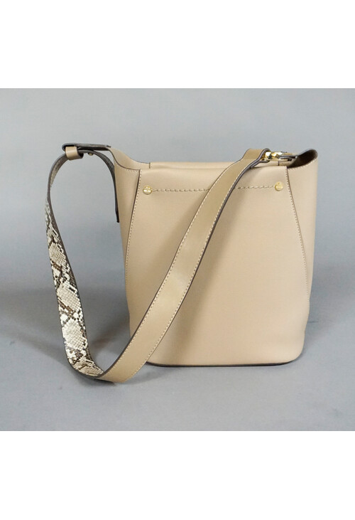 Bestini Taupe Cross Body Snake Print Detail Bag