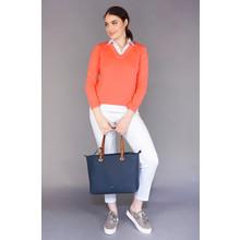 Gionni Double Handle Tan & Navy Bag