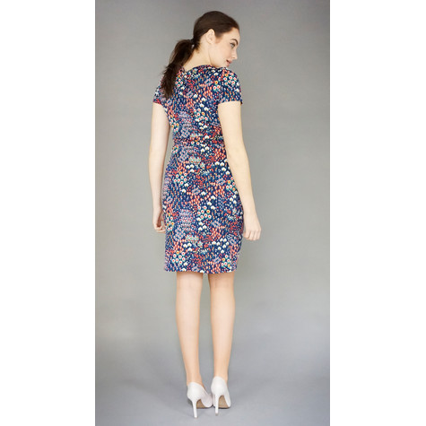 Zapara Navy Colourful Floral Print Dress