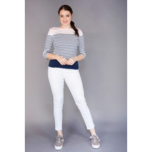Twist Pink & Navy Stripe Casual Top