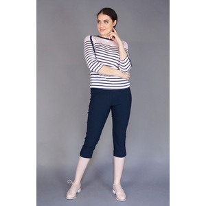 Twist Pink & Navy Stripe Button Details Top