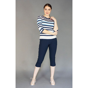 Twist Navy & White Large Stripe Top