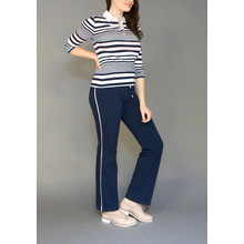 Pamela B Navy & Rose Stripe Tracksuit Pants