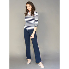 Pamela B Navy, Rose & White Stripe Polo Top