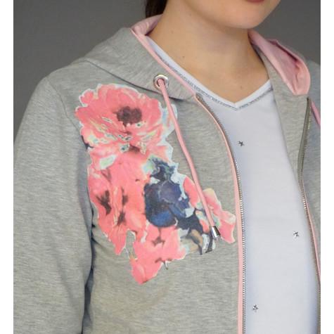 Pamela B Grey Floral Print Hoodie