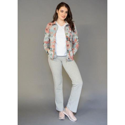 Pamela B Grey & Rose Floral Print Zip Jacket