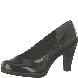 Marco Tozzi Black Patent Platform Court Shoe with Flexi-sole