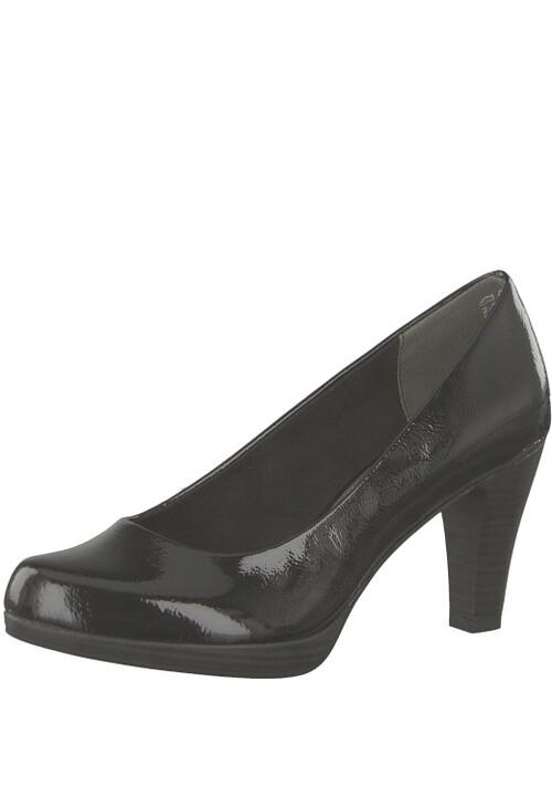 Marco Tozzi Black Patent Platform Court Shoe with Flexi-sole