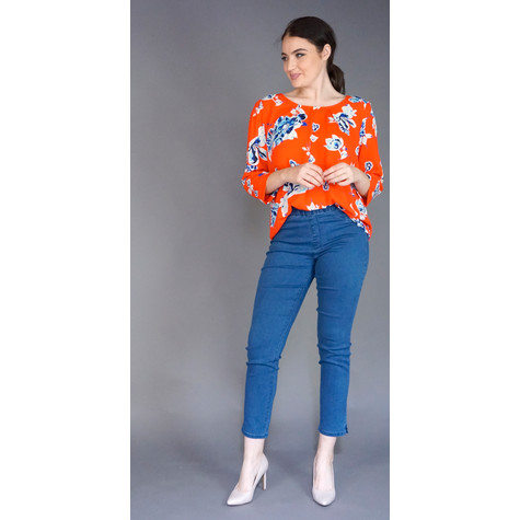 Zapara Red & Blue Loose Blouse