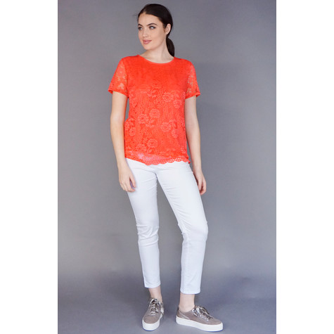 Zapara Coral Round Neck Lace Top