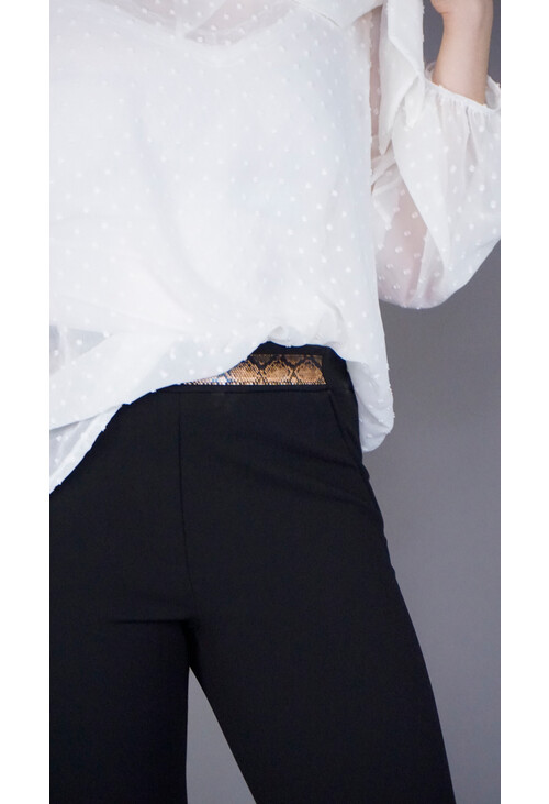 IOS Black Crop Slim Trousers