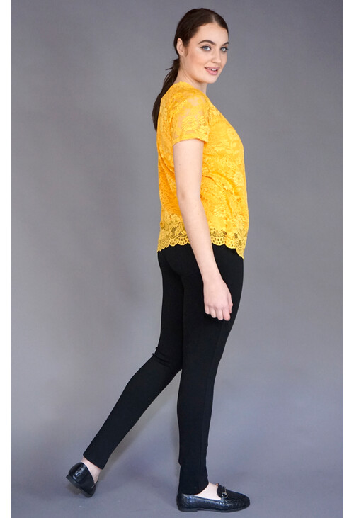 Zapara Mustard Lace Round Neck Top