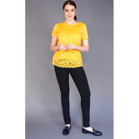 Zapara Mustard Lace Round Neck Top