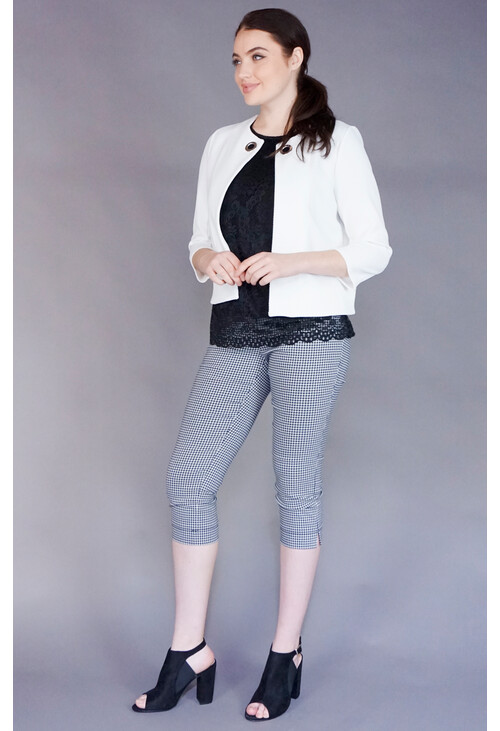 Zapara Ecru Silver Buckle Crop Jacket