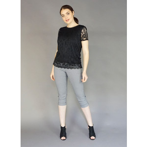 Zapara Black Lace Cap Sleeve Top