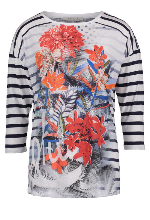 Betty Barclay Dark Blue/White Striped Top With a Floral Print
