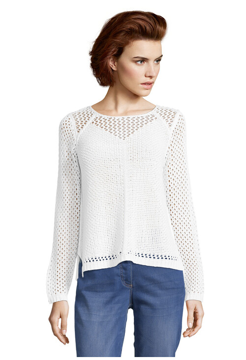 Betty Barclay White Chunky knit jumper with a Perforated Pattern