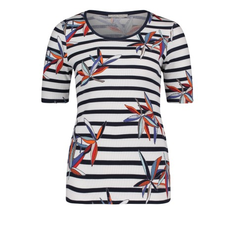 Betty Barclay Dark Blue/White Striped top With a Print