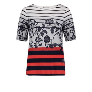 Betty Barclay Dark Blue/Red Basic T-shirt with jacquard