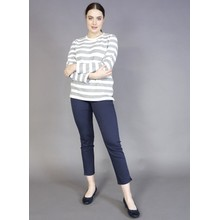 Twist Silver & Off White Stripe Top