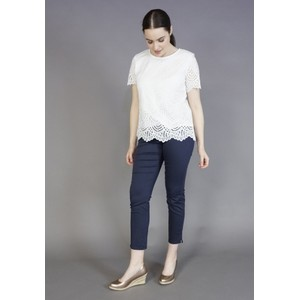 Zapara White Scallop Hem Top
