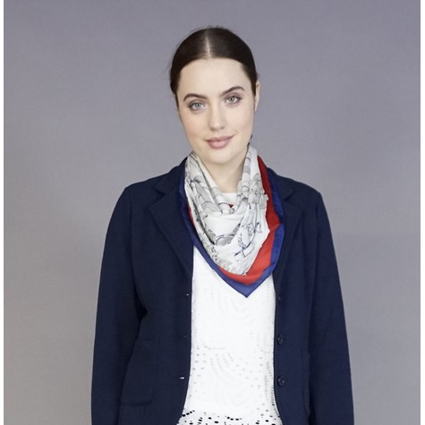Best Angel Red & Navy Chain Print Neck Scarf