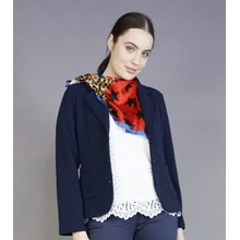 Pamela Scott Blue & Red Black Star & Leopard Print Scarf