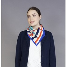 Pamela Scott Royal Blue & Red Crepe Neck Scarf