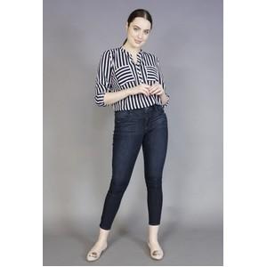 Twist Navy & Rose Stripe Blouse