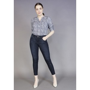 Twist Navy Leopard Pattern Button Blouse