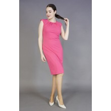 Zapara Pink Gathered Neckline Dress