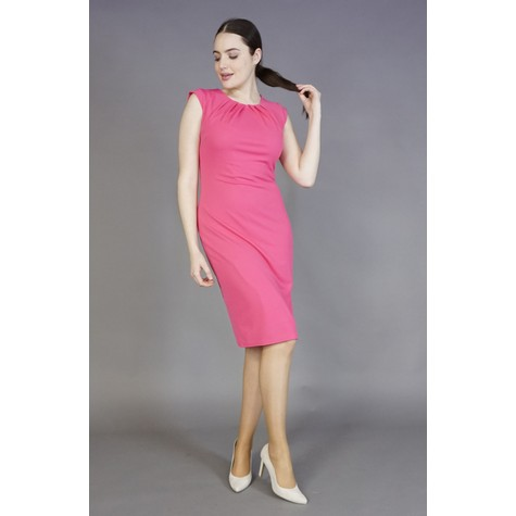 Zapara Pink Gathered Neckline Dress