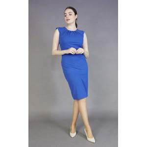 Zapara Royal Blue Gathered Neckline Dress