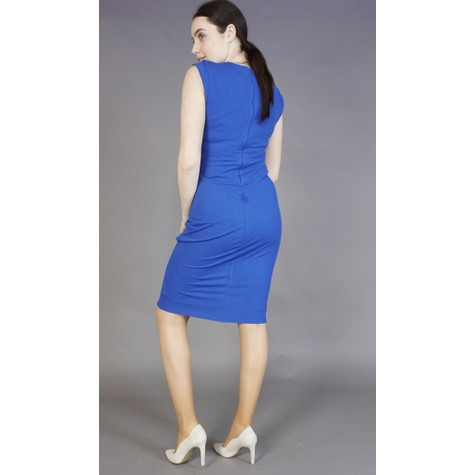 Zapara Royal Blue Gathered Neckline Dress