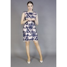 Donna Ricco Lace Blush & Navy Floral Pattern Dress