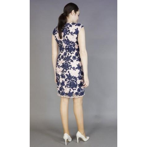 Donna Ricco Lace Blush & Navy Floral Pattern Dress