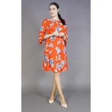 Zapara Red & Coral Floral Print Dress