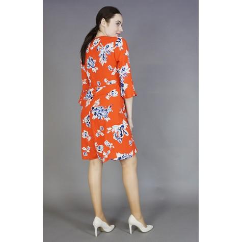 Zapara Red & Coral Floral Print Dress